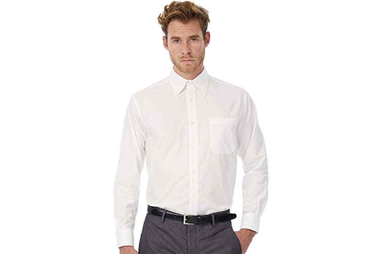 B&C Mens Oxford Long Sleeve Shirt / Mens Shirts (White) (5XL)