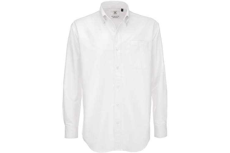 B&C Mens Oxford Long Sleeve Shirt / Mens Shirts (White) (6XL)