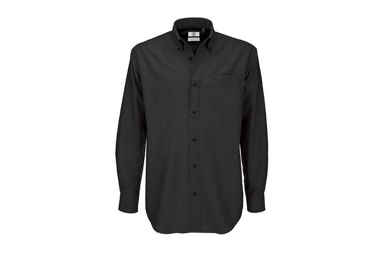 B&C Mens Oxford Long Sleeve Shirt / Mens Shirts (Black) (4XL)