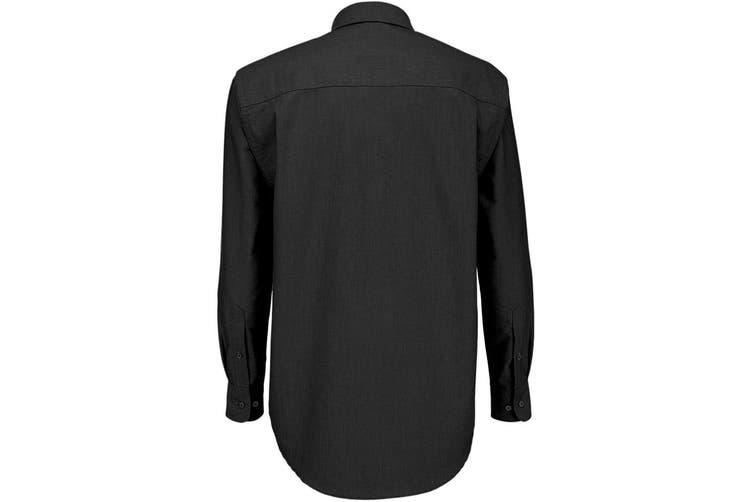 B&C Mens Oxford Long Sleeve Shirt / Mens Shirts (Black) (5XL)