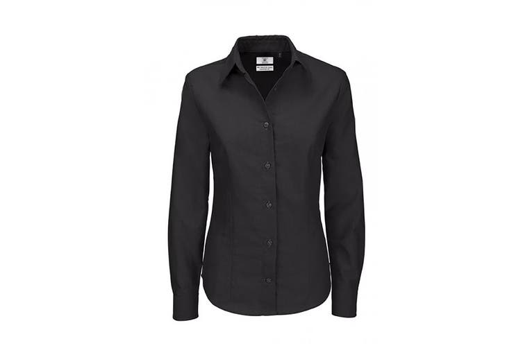 B&C Ladies Oxford Long Sleeve Shirt / Ladies Shirts & Blouses (Black) (L)
