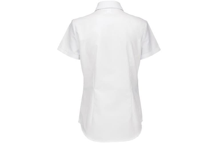 B&C Ladies Oxford Short Sleeve Shirt / Ladies Shirts (White) (5XL)