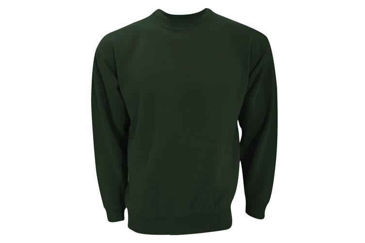 UCC 50/50 Unisex Plain Set-In Sweatshirt Top (Bottle Green) (XL)