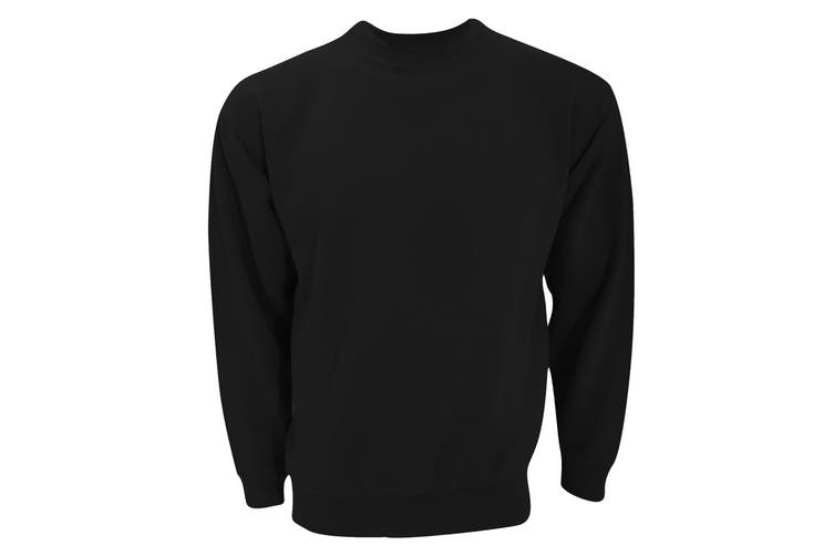 UCC 50/50 Unisex Plain Set-In Sweatshirt Top (Black) (S)