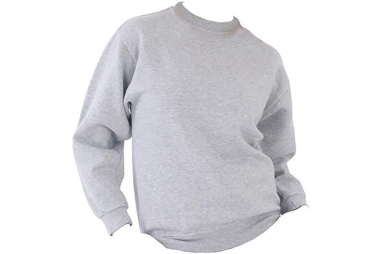 UCC 50/50 Unisex Plain Set-In Sweatshirt Top (Heather Grey) (S)