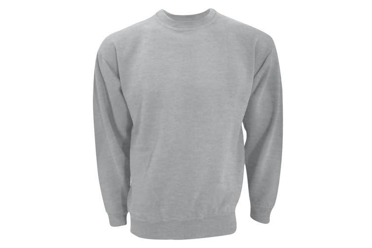 UCC 50/50 Unisex Plain Set-In Sweatshirt Top (Heather Grey) (XL)