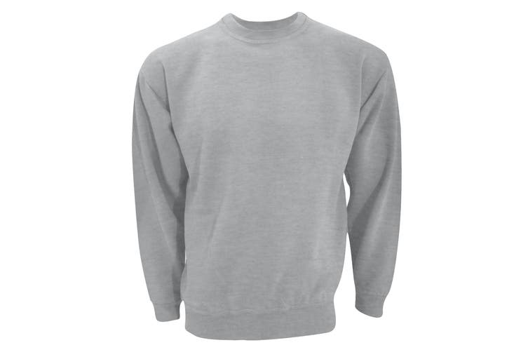 UCC 50/50 Unisex Plain Set-In Sweatshirt Top (Heather Grey) (4XL)