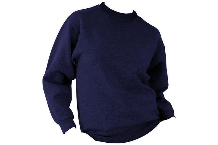 UCC 50/50 Unisex Plain Set-In Sweatshirt Top (Navy Blue) (XL)