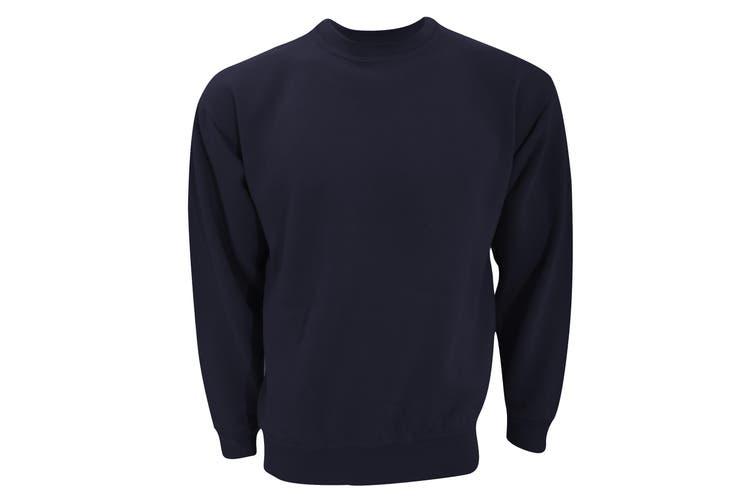 UCC 50/50 Unisex Plain Set-In Sweatshirt Top (Navy Blue) (2XL)
