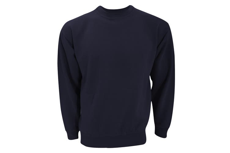 UCC 50/50 Unisex Plain Set-In Sweatshirt Top (Navy Blue) (4XL)
