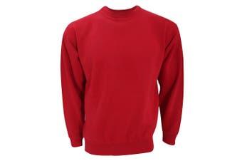 UCC 50/50 Unisex Plain Set-In Sweatshirt Top (Red) (XS)
