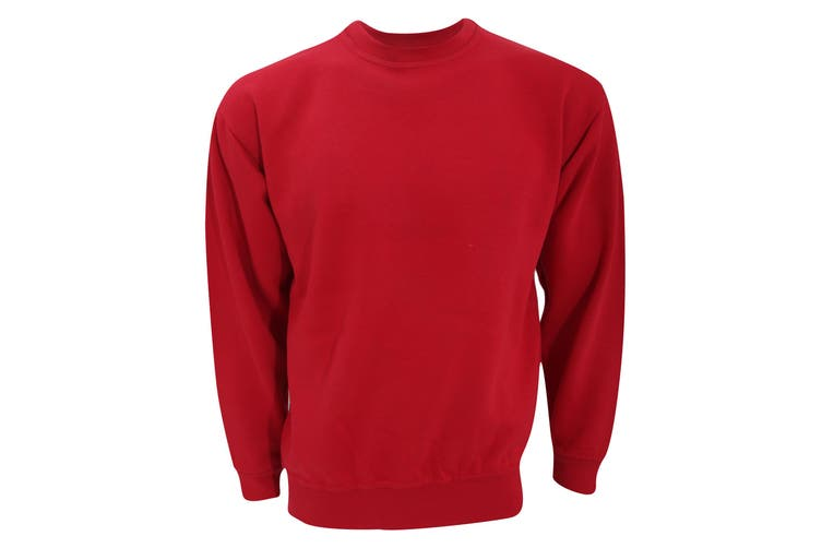 UCC 50/50 Unisex Plain Set-In Sweatshirt Top (Red) (S)