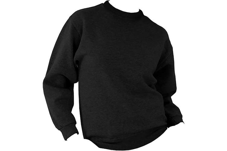 UCC 50/50 Unisex Plain Set-In Sweatshirt Top (Black) (L)