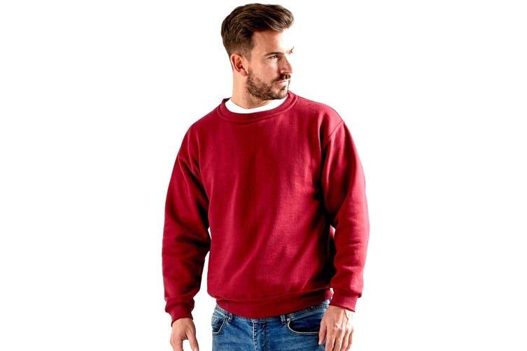 UCC 50/50 Unisex Plain Set-In Sweatshirt Top (Red) (XL)
