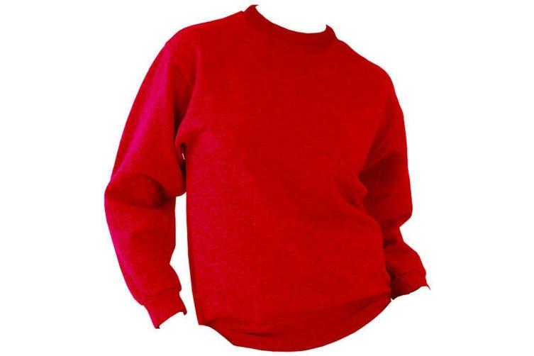 UCC 50/50 Unisex Plain Set-In Sweatshirt Top (Red) (4XL)