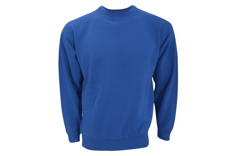 UCC 50/50 Unisex Plain Set-In Sweatshirt Top (Royal) (L)