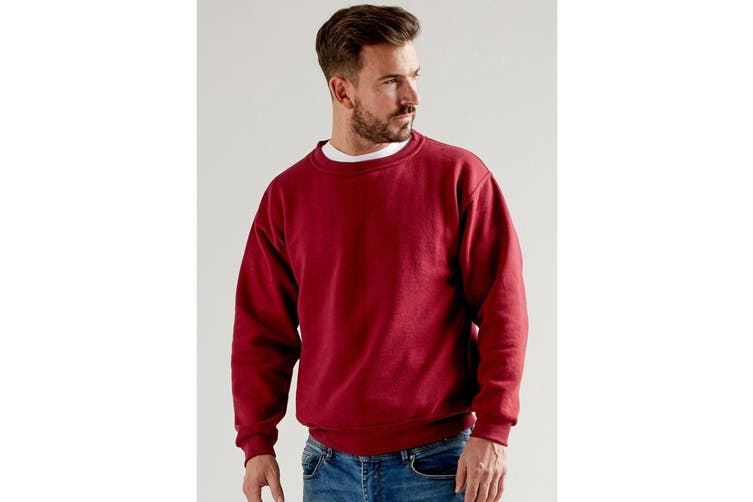 UCC 50/50 Unisex Plain Set-In Sweatshirt Top (Burgundy) (5XL)