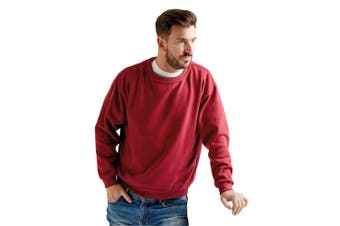 UCC 50/50 Unisex Plain Set-In Sweatshirt Top (Burgundy) (3XL)
