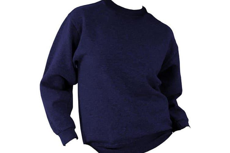 UCC 50/50 Mens Heavyweight Plain Set-In Sweatshirt Top (Navy Blue) (XL)