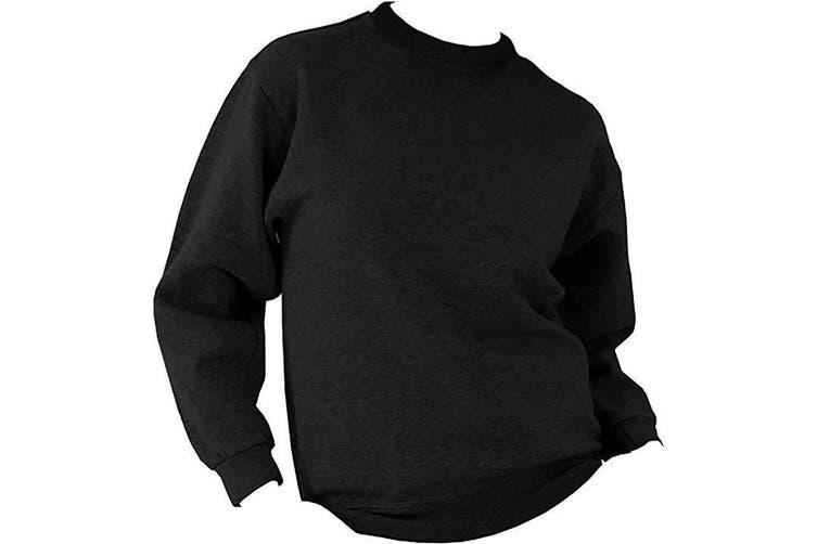 UCC 50/50 Mens Heavyweight Plain Set-In Sweatshirt Top (Black) (2XL)