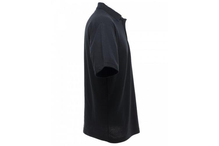 UCC 50/50 Mens Plain Piqué Short Sleeve Polo Shirt (Black) (L)