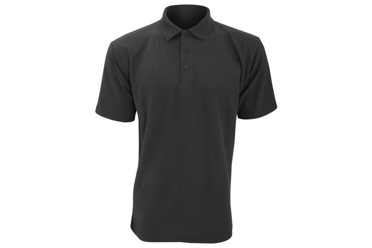 UCC 50/50 Mens Plain Piqué Short Sleeve Polo Shirt (Black) (4XL)