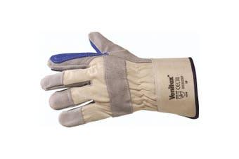 Venitex Workwear Cowhide Split Leather Gloves (Blue/Grey) (One Size)