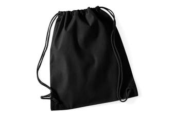 Westford Mill Cotton Gymsac Bag - 12 Litres (Black/Black) (One Size)