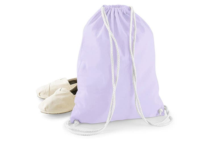 Westford Mill Cotton Gymsac Bag - 12 Litres (Lavender/White) (One Size)