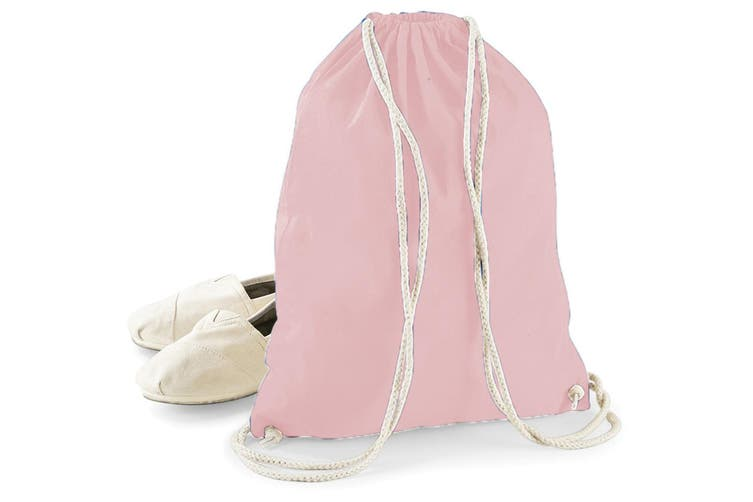 Westford Mill Cotton Gymsac Bag - 12 Litres (Pastel Pink/White) (One Size)