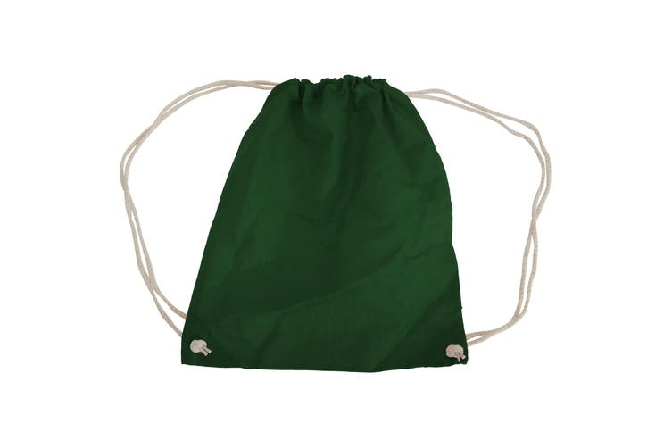 Westford Mill Cotton Gymsac Bag - 12 Litres (Bottle Green) (One Size)