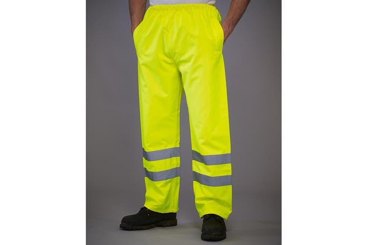 Yoko Mens Hi-Vis Waterproof Contractor Over Trousers (Hi-Vis Yellow) (L)
