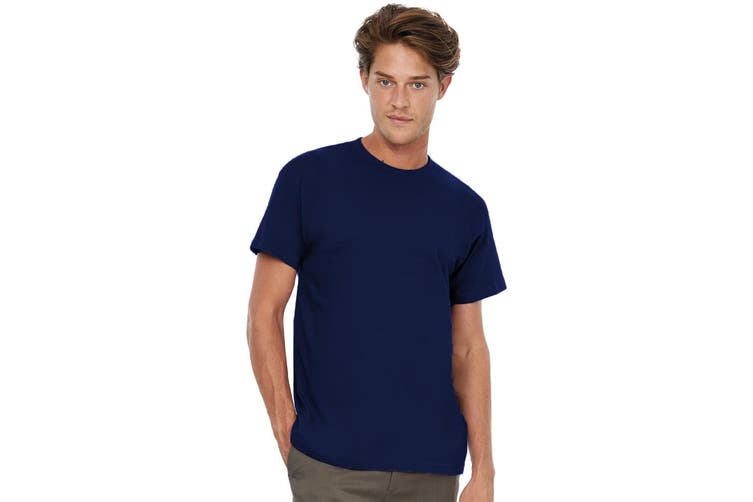 B&C Exact 190 Mens Crew Neck T-Shirt / Mens Short Sleeve T-Shirt (Navy Blue) (S)