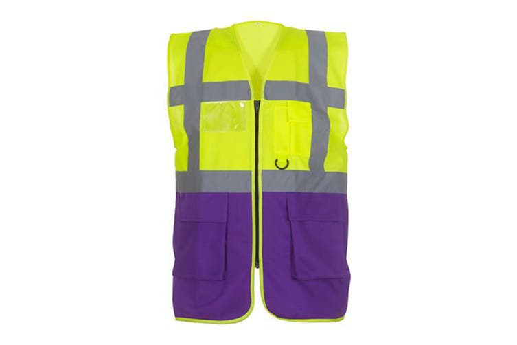 Yoko Hi-Vis Premium Executive/Manager Waistcoat / Jacket (Hi Vis Yellow/Purple) (XL)