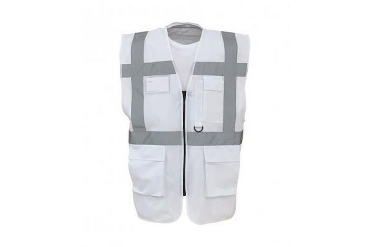 Yoko Hi-Vis Premium Executive/Manager Waistcoat / Jacket (White) (2XL)