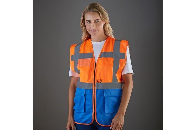 Yoko Hi-Vis Premium Executive/Manager Waistcoat / Jacket (Hi Vis Orange/Royal) (M)