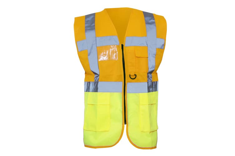 Yoko Hi-Vis Premium Executive/Manager Waistcoat / Jacket (Hi Vis Orange/Hi Vis Yell) (S)