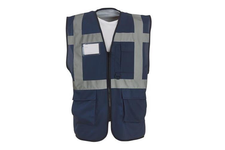Yoko Hi-Vis Premium Executive/Manager Waistcoat / Jacket (Navy Blue) (M)
