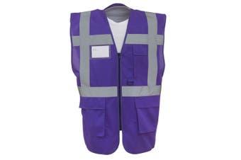 Yoko Hi-Vis Premium Executive/Manager Waistcoat / Jacket (Purple) (2XL)