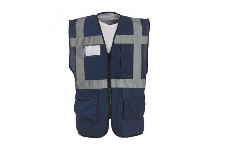 Yoko Hi-Vis Premium Executive/Manager Waistcoat / Jacket (Navy Blue) (3XL)