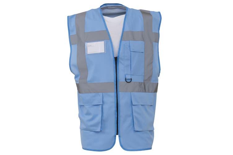 Yoko Hi-Vis Premium Executive/Manager Waistcoat / Jacket (Sky Blue) (3XL)