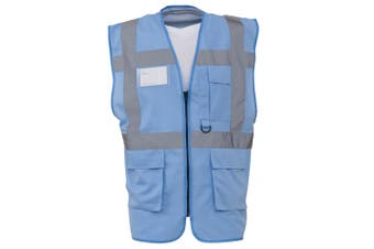 Yoko Hi-Vis Premium Executive/Manager Waistcoat / Jacket (Sky Blue) (M)