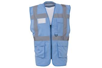 Yoko Hi-Vis Premium Executive/Manager Waistcoat / Jacket (Sky Blue) (S)
