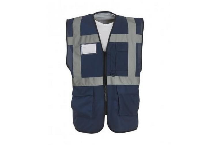 Yoko Hi-Vis Premium Executive/Manager Waistcoat / Jacket (Navy Blue) (S)