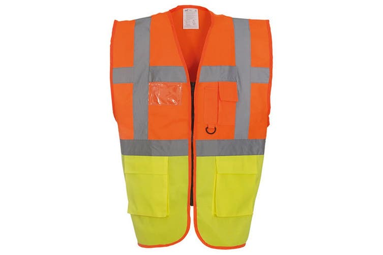 Yoko Hi-Vis Premium Executive/Manager Waistcoat / Jacket (Hi Vis Orange/Hi Vis Yell) (XL)