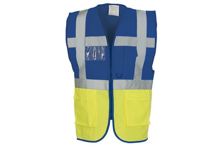 Yoko Hi-Vis Premium Executive/Manager Waistcoat / Jacket (Hi Vis Yellow/Royal Blue) (2XL)