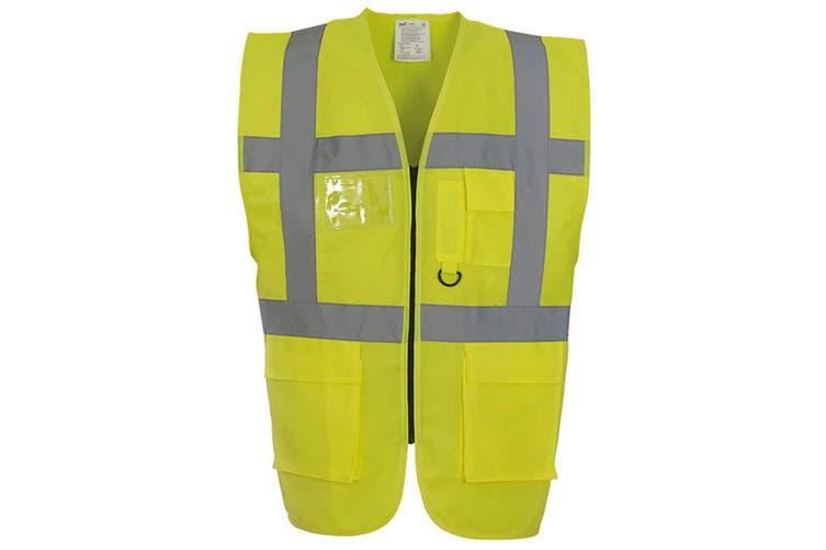 Yoko Hi-Vis Premium Executive/Manager Waistcoat / Jacket (Hi-Vis Yellow) (M)