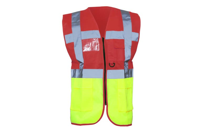 Yoko Hi-Vis Premium Executive/Manager Waistcoat / Jacket (Red/Hi Vis Yellow) (M)