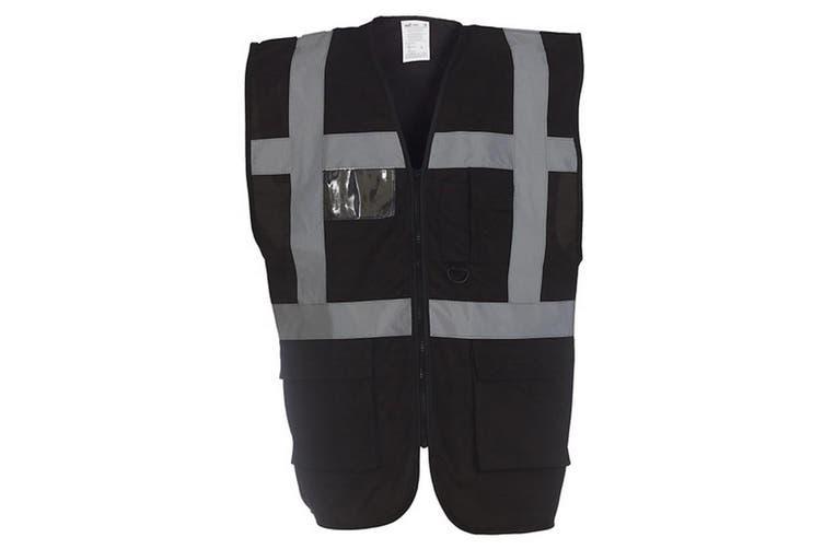 Yoko Hi-Vis Premium Executive/Manager Waistcoat / Jacket (Black) (2XL)