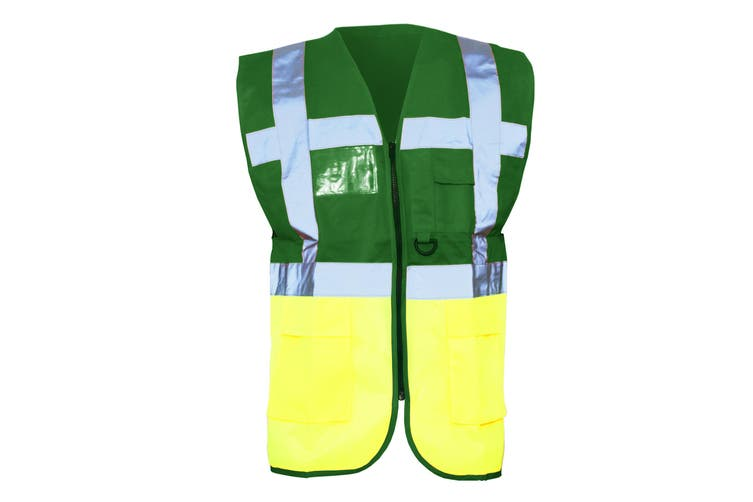 Yoko Hi-Vis Premium Executive/Manager Waistcoat / Jacket (Green/Hi Vis Yellow) (2XL)